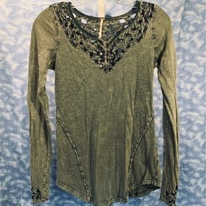 Free People Embroidered Long Sleeve Top in Green